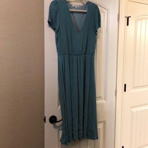 WayF midi blouson dress in blue.